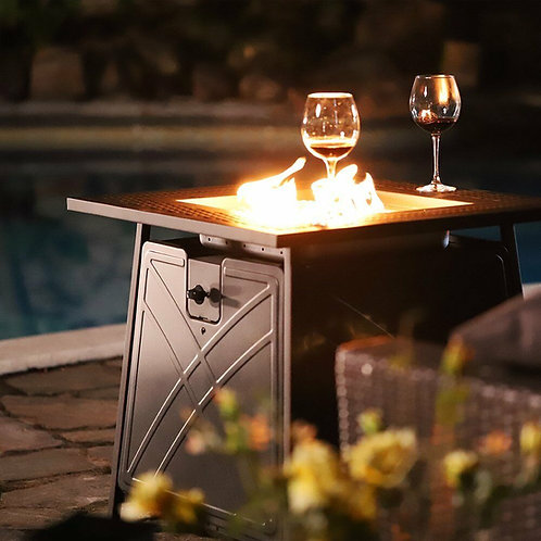 """28""""Outdoor Propane Fire Pit Patio Heater Gas Table Square Fireplace Blue Glass"""