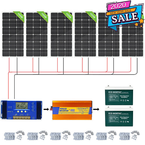 100W 200W 400W 600W 1KW Complete Solar Panel Kit & Gel Battery Charge RV Home
