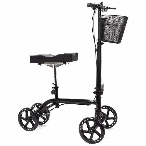 Kneeling Walker Steerable Foldable Scooter Turning Brake Basket Drive Cart Black
