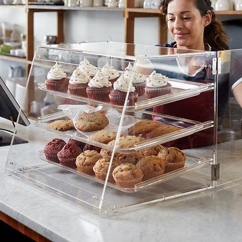 "3 Tray Bakery Display Case with Rear Doors - 21"" x 17 3/4"" x 16 1/2"""