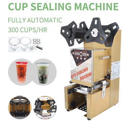 Electric Automatic Bubble Tea Cup Sealing Machine Sealer 300Cups/h 350W -