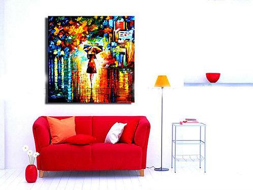 Umbrella Girl Oil Canvas