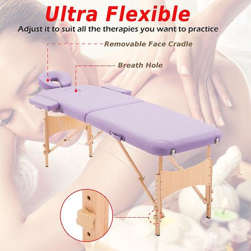 """84""""L 3 Fold Massage Table SPA Bed Sheet+2 Bolster+Cradle+Hanger Portable"""