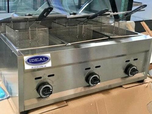 NEW 3 Burner Commercial Deep Fryer  Propane  Counter Top Outdoor