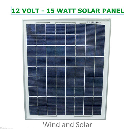 12 Volt 15 Watt Polycrystalline 36 Cell Solar Panel Photovoltaic PV 15 Watt Max