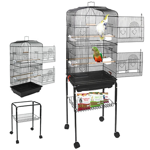 Durable 59''H Large Cockatiel Parakeet Finch Canary Cage Bird Cage With Stand