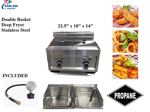 Two compartment propane deep fryer