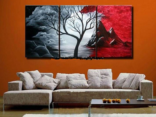 Hand painted oil on canvas - 3pcs