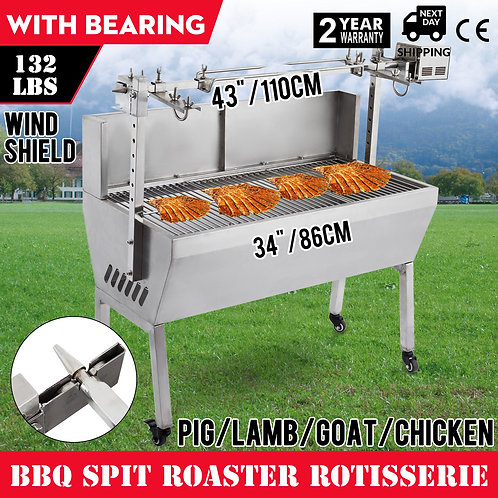 132Lb BBQ Pig Lamb Goat Chicken Roaster Stainless Steel Rotisserie Outdoor 25w