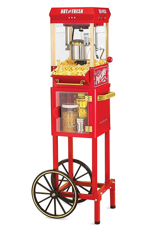 "Popcorn Cart Electrics Machine Popper Maker Vintage Red Stand 48"" Kitchen Home"
