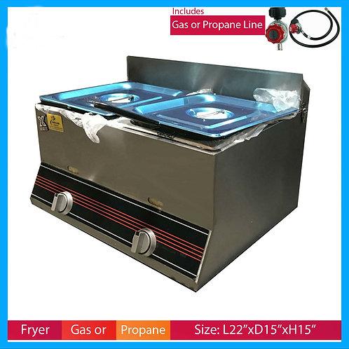Deep Fryer 7 Gallon Double Propane Commercial Countertop
