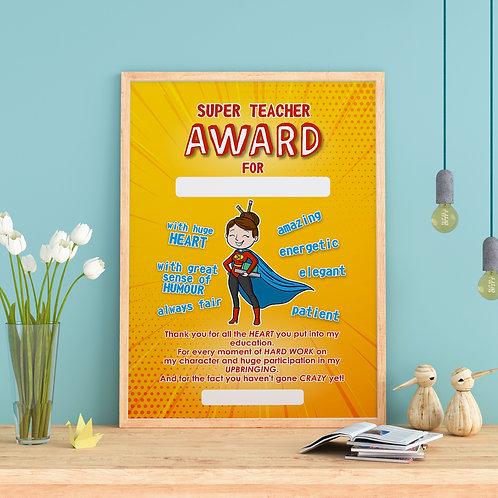 """Plakat """"Super Teacher AWARD"""" wersja żeńska plik .pdf"""