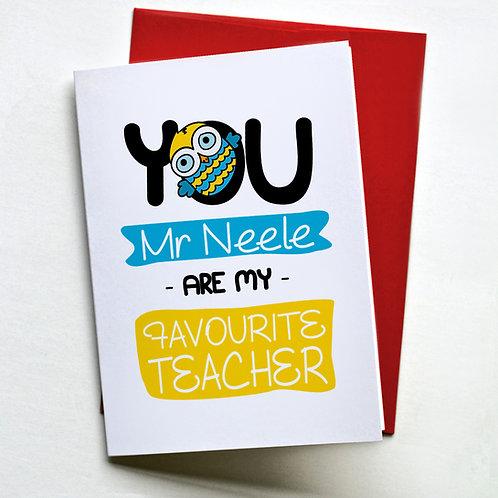 "Kartka personalizowana A5 ""You are my favourite teacher"""