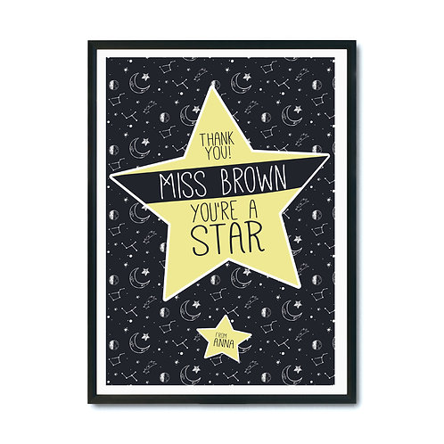 "Plakat personalizowany ""You're a star"" Druk"