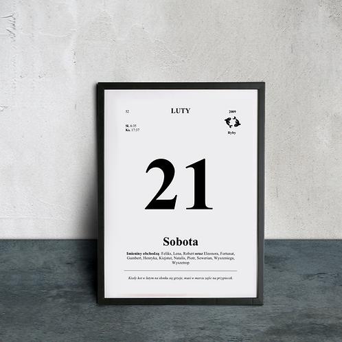 Metryczka w stylu Kartka z Kalendarza (druk)