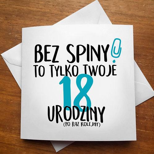 """Kartka kwadratowa """"Bez spiny!"""""""