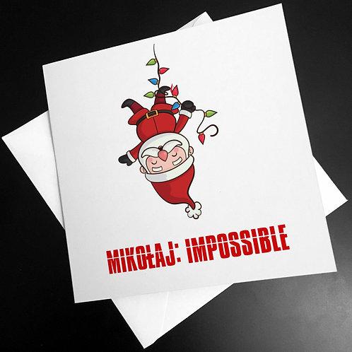 """Kartka kwadratowa świąteczna """"Mikołaj: Impossible"""""""