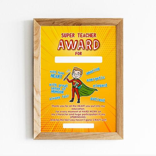 """Plakat """"Super Teacher AWARD"""" wersja męska plik .pdf"""