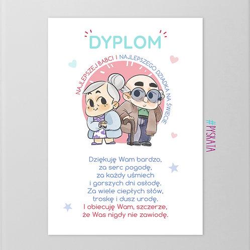 Plakat Magnetyczny Dyplom Najlepszej Babci I Najlepszego Dziadka