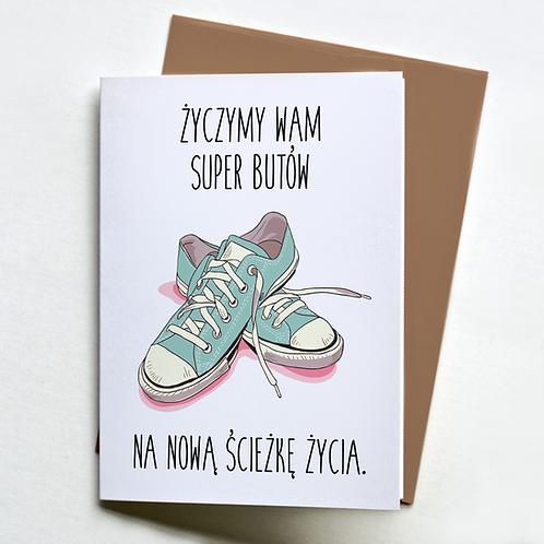 """Kartka pożegnalna A5 """"Życzymy/Życzę Ci super butów"""""""