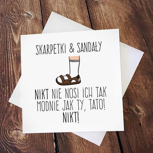 Kartka kwadratowa 'Skarpetki & sandały. Nikt nie nosi ich jak ty'