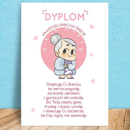 Plakat Magnetyczny Dyplom Najlepszej Babci/Najlepszego Dziadka
