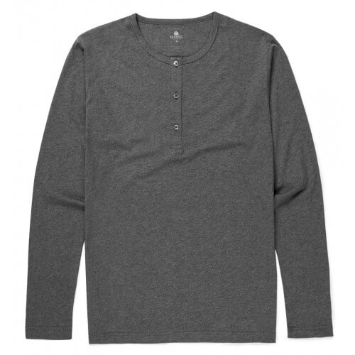 Mens Cotton Long Sleeve Henley T-Shirt
