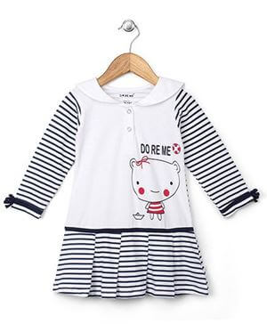 Kids Full Sleeves Striped Frock