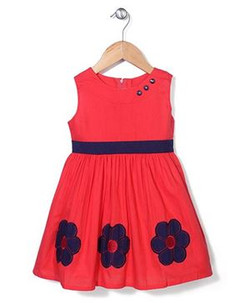 Kids Sleeveless Frock Floral Embroidery
