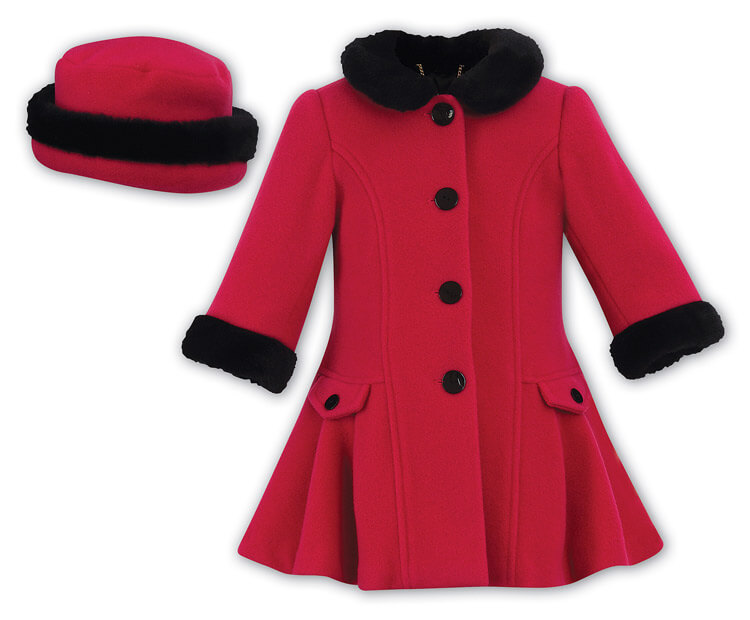 Girls Dress Coat with Faux Fur Trim Matching Hat