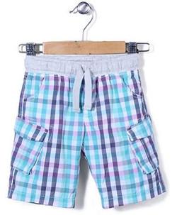 Kids Checks Cargo Shorts Printed