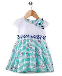 Kids Short Sleeves Frock Floral Applique