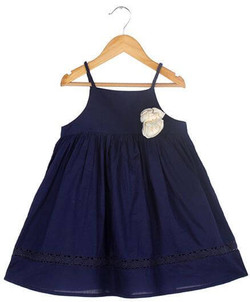 Kids Strappy Dress With Braided Straps & Lace Inserts