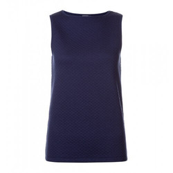 Womens Quilted Jacquard Cotton Boat Neck Tank