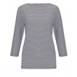 Womens Long-Staple Cotton Boat Neck T-Shirt with Stripe