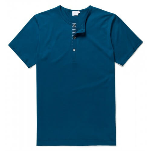Mens Long-Staple Cotton T-Shirt with Contrast Placket