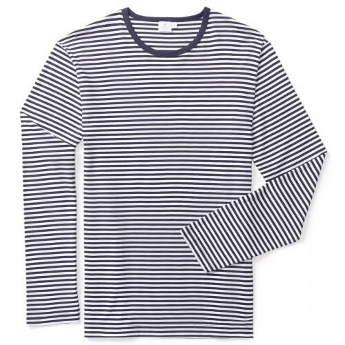 Mens Long-Staple Cotton Long Sleeve T-Shirt with Stripe
