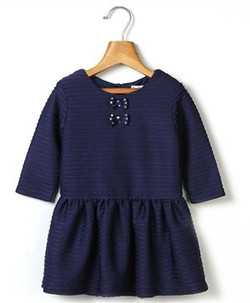 Kids Sequin Bow Pleated Dress