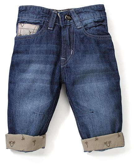 Kids Stone Washed Printed Turn-Up Jeans
