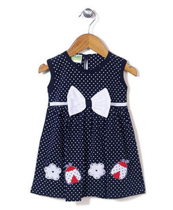 Kids Sleeveless Dotted Frock Bow Applique