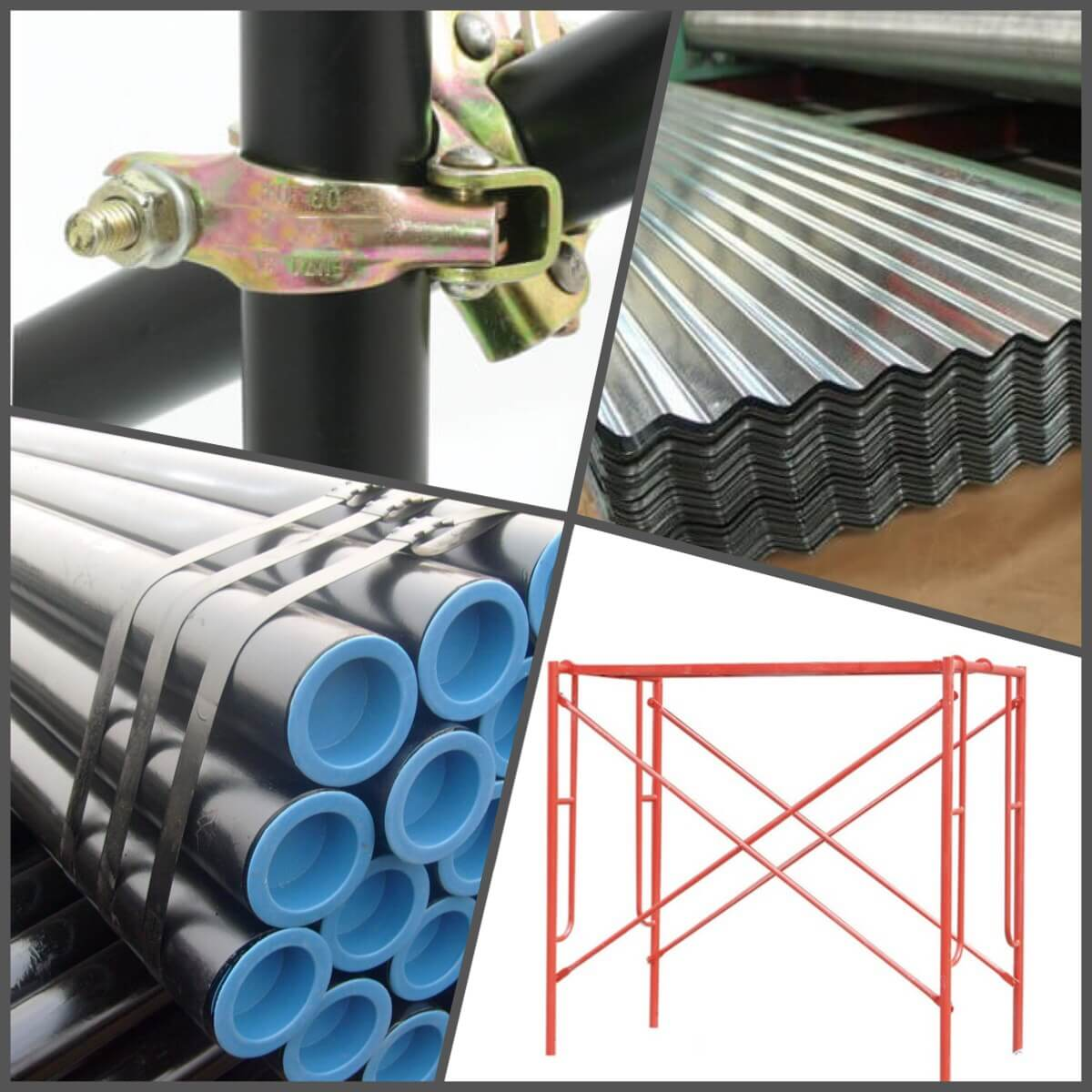 Scaffolding, Corrugated Sheets, Steel Pipes