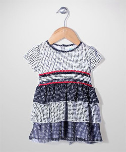 Kids Short Sleeves Layered Dotted Frock