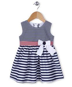 Kids Sleeveless Frock Stripes Pattern