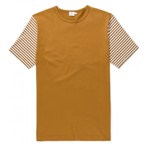 Mens Long-Staple Cotton T-Shirt with English Stripe Sleeves