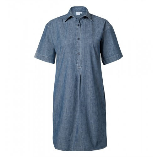 Womens Japanese Chambray Short Sleeve Shirtdress