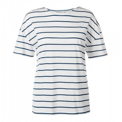 Womens Boxy Dropped Shoulder T-Shirt with Quarter Stripe