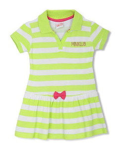 Kids Short Sleeves Stripe Frock Bow Applique