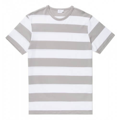 Mens Long-Staple Cotton T-Shirt with Brent Stripe