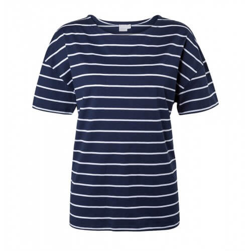 Womens Boxy Dropped Shoulder T-Shirt with Quarter Stripe in Navy Melange - White