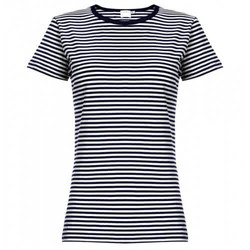 Womens Long-Staple Cotton Classic T-Shirt with Stripe